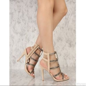 Beaded Caged Heels